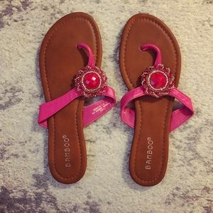 Tan & hot pink beaded flip-flop flat sandals