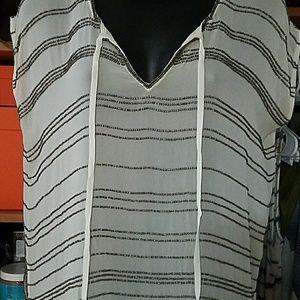 Anthropologie GRYPHON  White Beaded Silk Top
