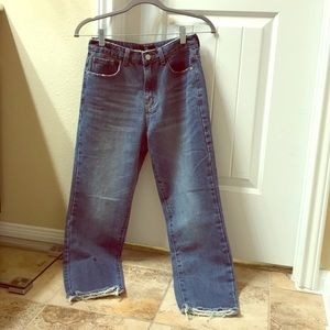 High waisted straight leg cropped jeans