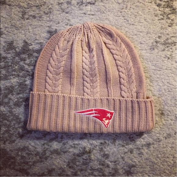 4127e7e94 Pale pink cable knit New England Patriots hat