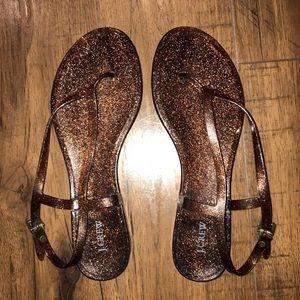 J. Crew Glitter Jelly Sandals Thongs