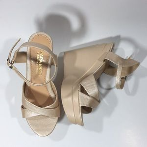 Zara Wedge Gold Metallic Sandals silver hardware