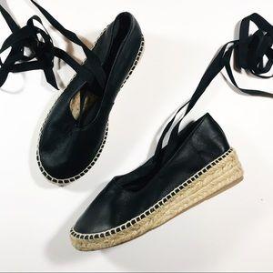 Zara | Leather Lace Up Espadrilles