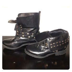 Torrid Gold Studded Black Boots Size 8
