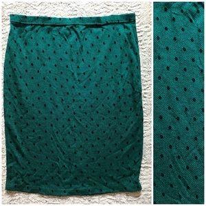 Vintage Polka Dot Soft Knit Midi Skirt