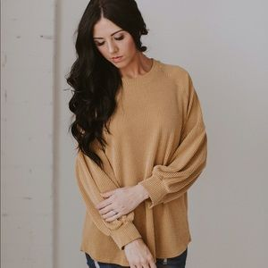 Ribbed Knit Puff Sleeve Top - Mustard