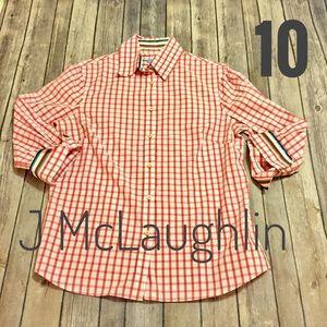 J McLaughlin fitted plaid blouse w/flip cuffs