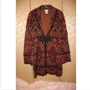Soft Surroundings Paisley Sweater Coat Medium M
