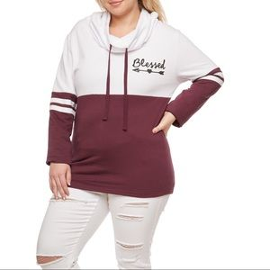 Sweaters - Plus Size Color Block Graphic Cowl Neck Sweatshirt