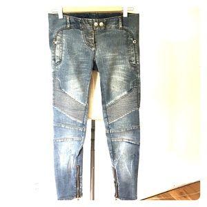 Balmain Paris Moto Jeans Capri 36