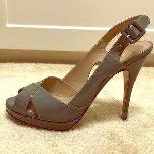 Authentic Valentino Grey Patent Leather Sling-back