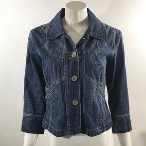 DKNY Womens Jean Jacket Size Large 3/4 Sleeve