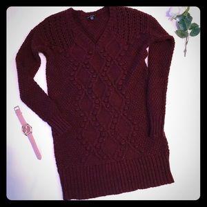 American Eagle Long Maroon Sweater Sz Small