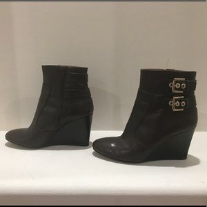 Nine West Brown with Gold Hardware Booties