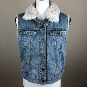 Levi's Blue Jean Faux Fur Lined Button Vest NWT