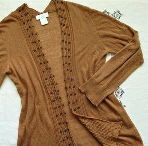 Soft Surroundings linen/cotton open cardigan