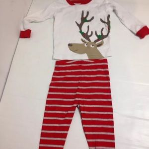 Carters reindeer red striped pajamas