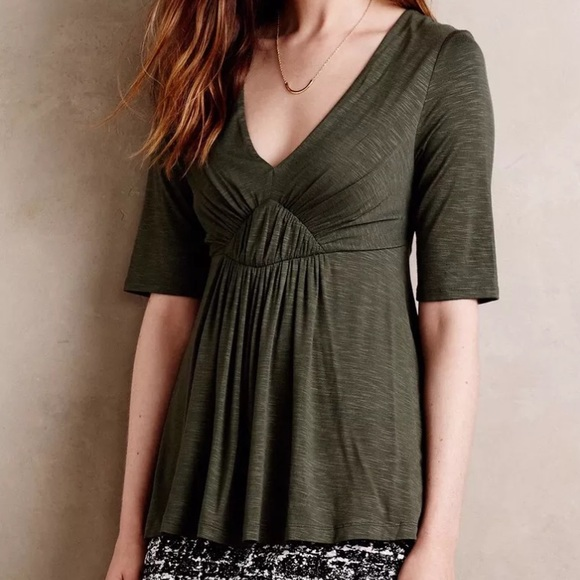 00993b5963436 Anthropologie Tops - Anthropologie Deletta SZ S Elbow Sleeve Green Top