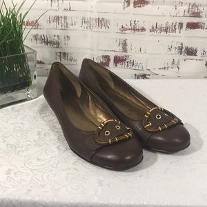 Franco Sarto Brown Flats with Buckle Size 8M