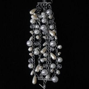 NWT silver with pearl multi strand bracelet LTDB71