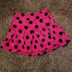 Gap Girls Hot Pink Polka Dot Velvet Skirt sz 8