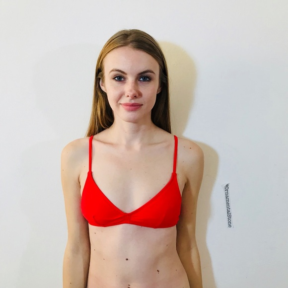 758a888ab18cf3 J. CREW FRENCH GATHERED BIKINI TOP RED S  K91