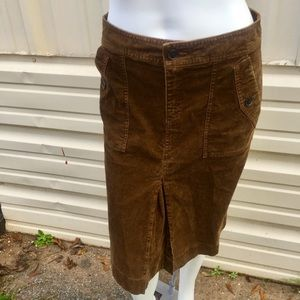 Loft brown corduroy skirt