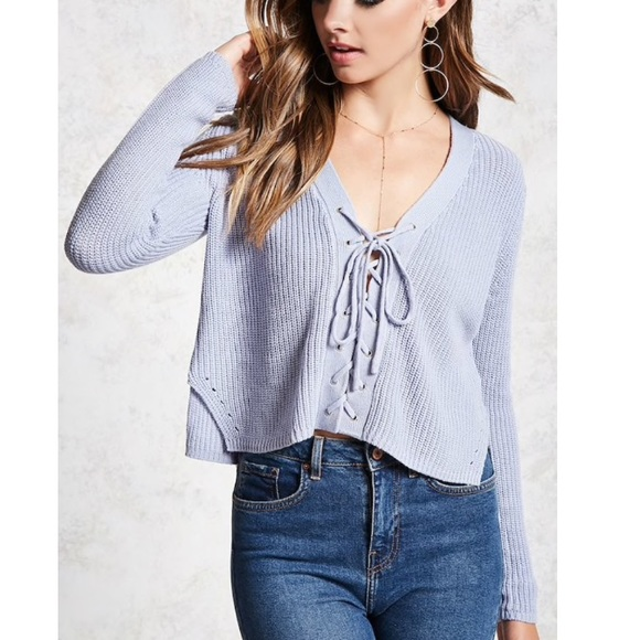 93542aff12 F21 periwinkle lace up crop sweater