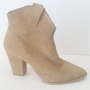 Zara Suede Boots Tan Western Heel Leather