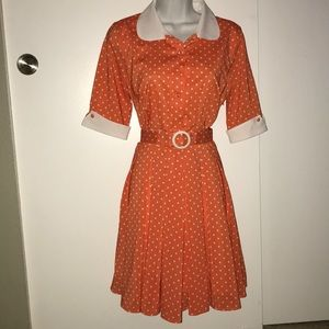 Miss L Fire retro orange polka dot dress
