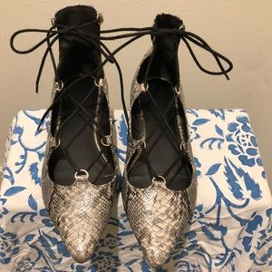 Topshop Snakeskin Lace Up Pointy Toe Flats