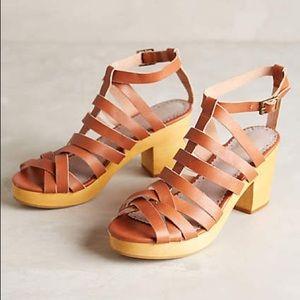 Anthropologie Leather clog heels