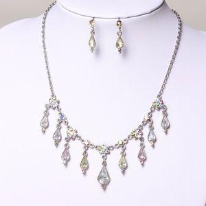 Pastel Colors Gemstones Necklace & Earrings Set