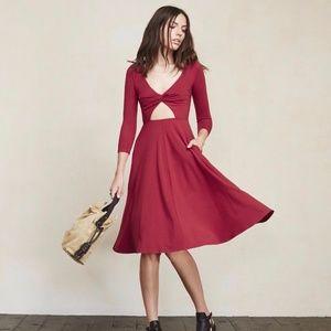 Reformation Mora Red Midi Dress w/ Cutout Size XS