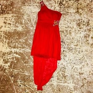 Red Hi LO Formal Dress adorned with jewels size 9