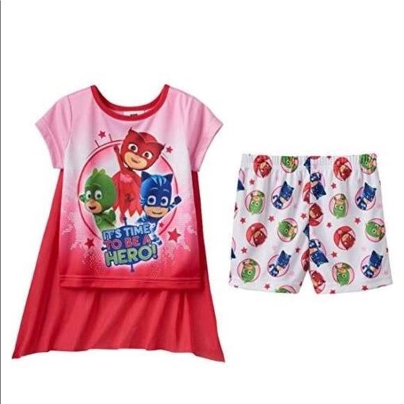 NWT PJ Masks Toddler Girlsu0027 Cape Pajama Set