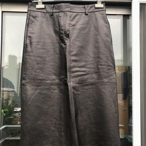 Theory Black Lamb Leather Midi Skirt size4