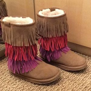 Girls EMU Shearling Boots with fringe