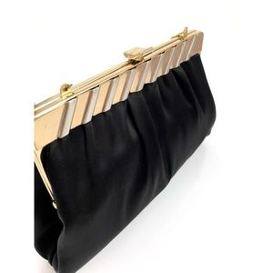 1950s black satin evening clutch by HARRY LEVINE
