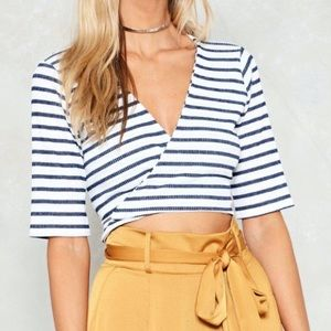 Nasty Gal Striped Wrap Top