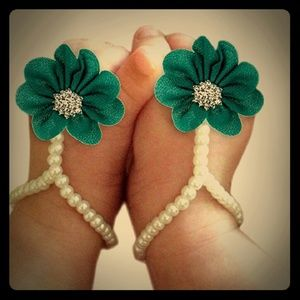 Other - Chiffon Flower n Pearl Barefoot Sandals Teal