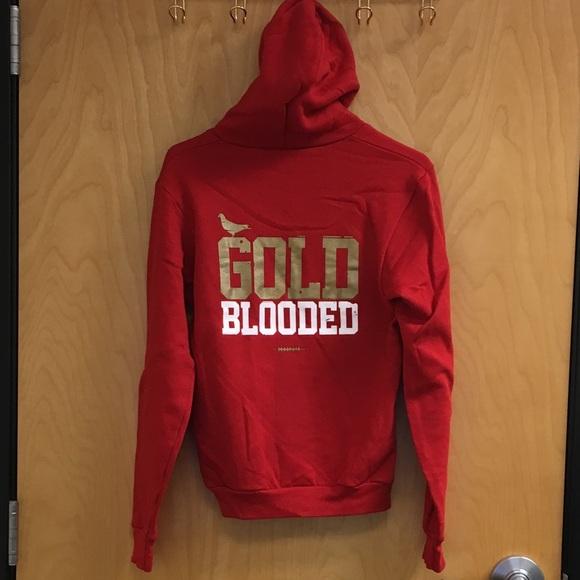 f8c0cc1e5f8 adapt Tops - Adapt GOLD BLOODED Zip Hoodie San Francisco 49ers