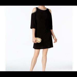 🆕 MSK cold shoulder shift dress black Large NWT