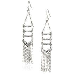 rebecca minkoff // rhodium-plated fringe earring