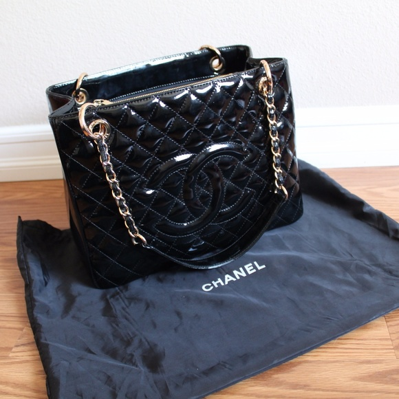 5d2abfc863e0 CHANEL Handbags - Chanel Black Patent Quilted Grand Shopping Tote