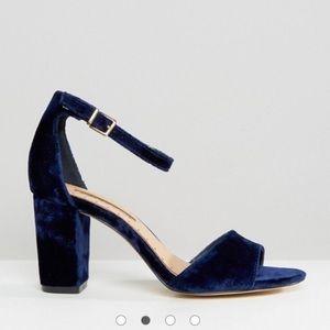 Blue Velvet Stack Heels, NEW!