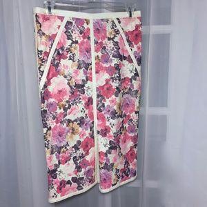 MUSTARD SEED Floral Printed Pencil Skirt