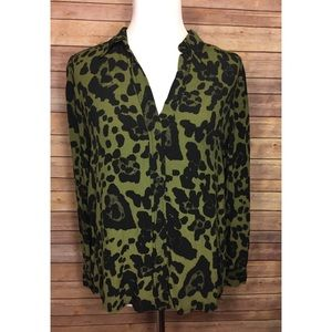 Topshop Green Animal Print Collared Button Up Top
