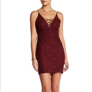 Astr The Label Lace Up Bodycon Dress, Wine, Size S