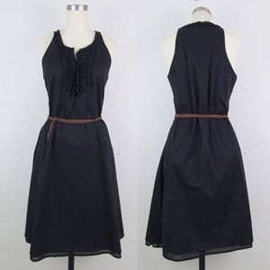 CONVERESE Ruffle Front Black A-Line Dress Small